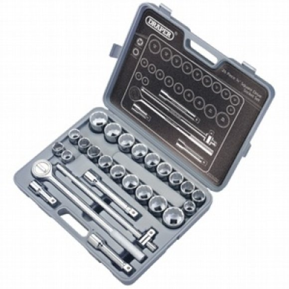 "Draper 26 Piece 3/4"" Square Drive Silverdrive Socket Set"